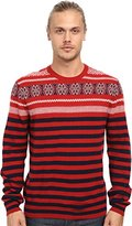 French Connection Men's Fairisle Stripe Crew Neck Sweater