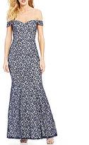 Sequin Hearts Off-The-Shoulder Lace Long Dress