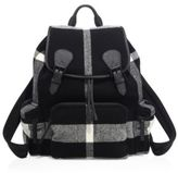 Burberry Check Calf Leather-Blend Duffle Backpack