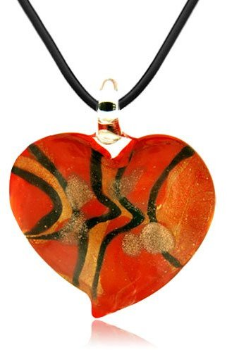 Murano Pugster Glass Fiery Orange Heart Fashion Jewelry Pendants Necklaces