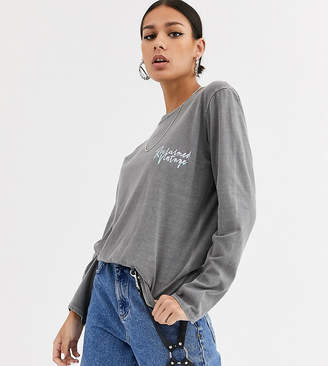 Reclaimed Vintage inspired oversized long-sleeved logo tee in charcoal overdye