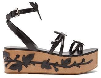 Prada Flatform Floral-appliqued Leather Sandals - Womens - Black