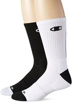 Champion Men's 2 Pack Basketball Crew Socks, White/Blue, 6-12