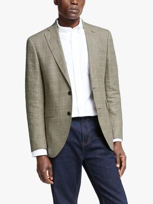 Hackett London Linen Cotton Check Blazer, Beige/Brown