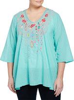 Johnny Was Paloma Embroidered 3/4-Sleeve Blouse, Aqua Jade, Women's