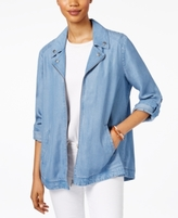 Style&Co. Style & Co Style & Co Petite Chambray Swing Jacket, Created for Macy's