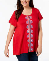 Style&Co. Style & Co Plus Size Embroidered Swing-Hem Top, Created for Macy's