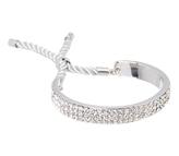 Love Rocks Crystal & Silvertone Triple-Row Bolo Bracelet