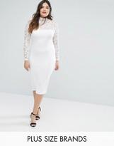 Missguided Plus Scuba Lace Trim Midi Dress