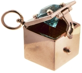 Marla Aaron Blue Zircon Box Charm - Rose Gold