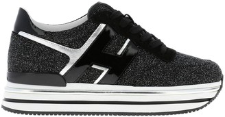 Hogan Sneakers In Laminated And Mirrored Leather With Glitter Fabric And Sole 222