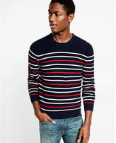 Express cotton textured stripe crew neck sweater