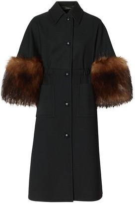 Burberry Faux Fur Trim Cape Detail Wool Blend Coat