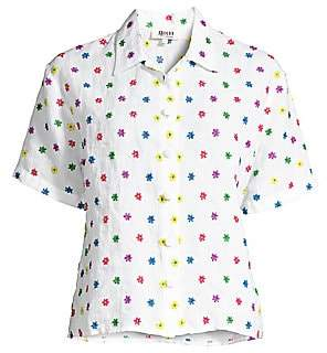 All Things Mochi Women's Nora Embroidered Flower Linen Shirt