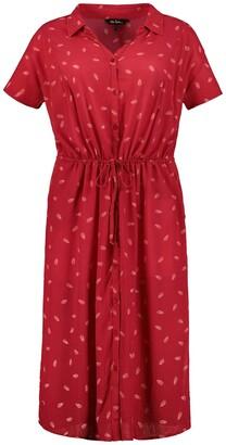 Ulla Popken Printed Midi Shirt Dress with Tie-Waist
