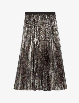 Maje Jilio pleated sequinned crepe skirt