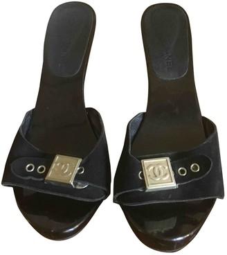 Chanel Black Suede Mules & Clogs