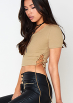 Missy Empire Valerie Tan Lace Up Detail Crop Top