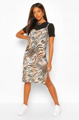 boohoo Tiger Print Jersey Midi Slip Dress
