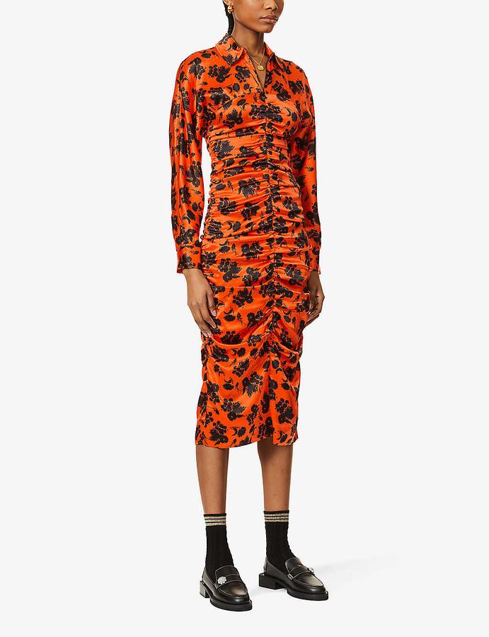 Ganni Floral-print ruched silk-satin midi dress