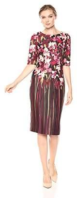 Adrianna Papell Women's Modern Floral Printed Scuba Sheath Dress