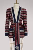 Gucci Marine striped bouclé jacket with belt
