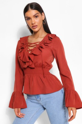 boohoo Woven Lace Up Peplum Top