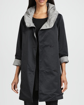 Eileen Fisher Reversible Hooded Rain Coat