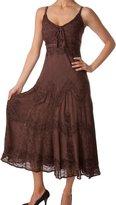 Sakkas 4012 Stonewashed Rayon Embroidered Adjustable Dress - S/M