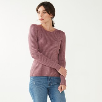 Nine West Women's Ribbed Long Sleeve Crewneck Sweater