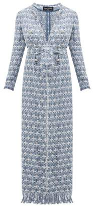 Balmain Double Breasted Belted Boucle Tweed Coat - Womens - Blue White