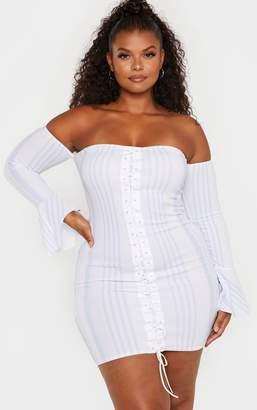 PrettyLittleThing Plus Blue Bardot Lace Up Front Striped Bodycon Dress