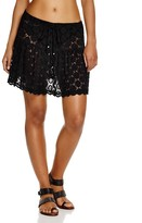 J Valdi Drawstring Dot Lace Skirt Swim Cover-Up