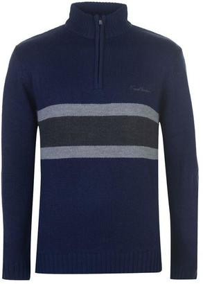 Pierre Cardin Quarter Zip Striped Knit Mens