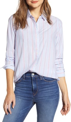 Lucky Brand Classic Striped Button Front Tunic Shirt