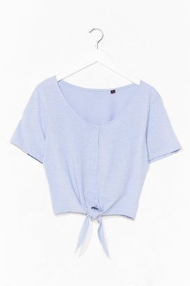 Nasty Gal Womens Nothin' Button Love Tie Cropped Tee - Lavender
