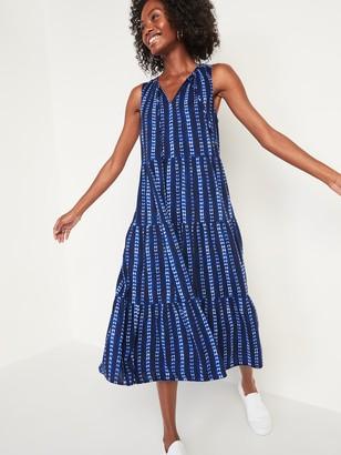 Old Navy Sleeveless Tie-Dye-Stripe Midi Swing Dress for Women