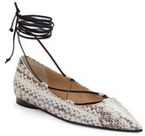 Michael Kors Kallie Snakeskin and Leather Lace-Up Flats