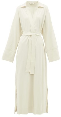 Lemaire Polo-collar Belted Cotton-jersey Shirtdress - Womens - Ivory