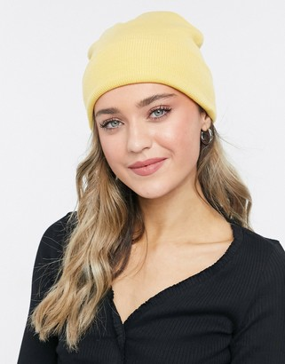 Monki Ruby recycled beanie hat in yellow