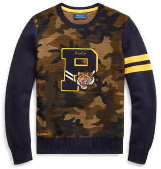 Ralph Lauren Camo Cotton Letterman Jumper