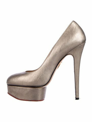 Charlotte Olympia Leather Pumps Gold