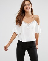Asos Cold Shoulder Cami Top with Lace Trim in Satin Finish