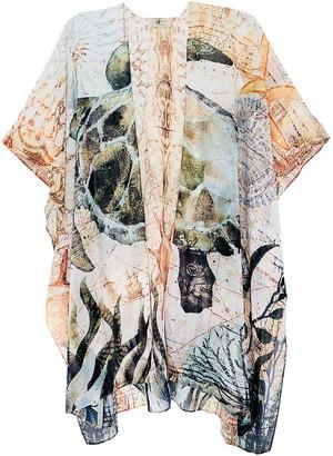 JC Sunny Women's Kimono Cardigans Green-Coral - Green & Coral Turtle Kimono - Women