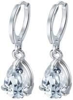 Ducklingup Fashion Jewelry Shiny Crystal Dangle Earrings Amethyst Sapphire Gemstone Water Drop Shape Earrings Ear Decoration Silver (, silver)