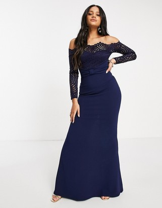 Goddiva lace bardot fishtail maxi dress in navy