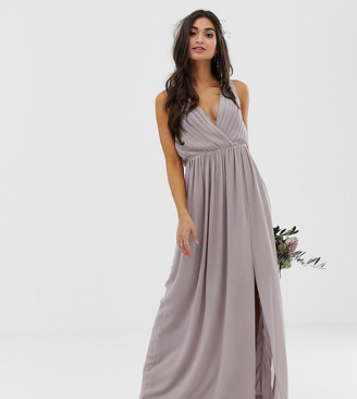 TFNC Petite bridesmaid exclusive pleated maxi dress with back detail in grey