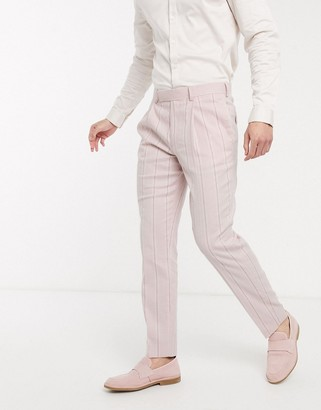 ASOS DESIGN wedding slim suit pants in stretch cotton linen in pink and white stripe