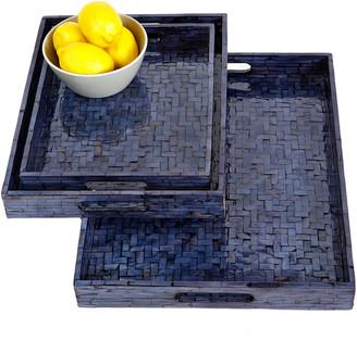 Tozai Home Set Of 3 Blue Trays