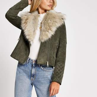 River Island Womens Khaki faux fur collar suede biker jacket